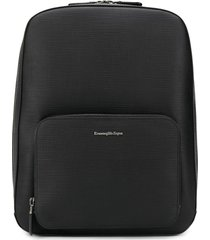 ermenegildo zegna textured leather backpack - black