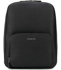 ermenegildo zegna textured leather backpack - black