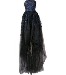 oscar de la renta strapless embroidered tulle gown - blue