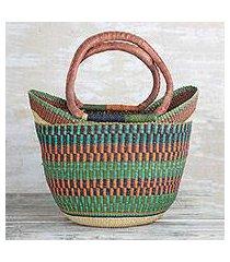 leather accented raffia tote bag, 'bolga basket' (ghana)