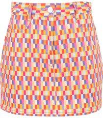 bright checks claude skirt