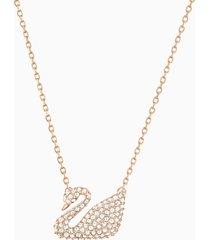 collana swan, bianco, placcato oro rosa