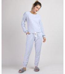pijama de moletom feminino manga longa cinza mescla