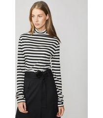 summum 3s4435-30168 top long slv sheer stripe shell-black