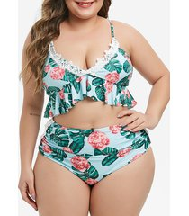 laced floral palm leaf ruched plus size bikini swimsuit