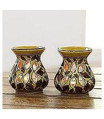 ceramic oil warmers, 'floral aroma' (pair) (india)