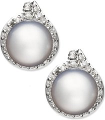 14k white gold earrings, cultured south sea pearl (11mm) and diamond (3/4 ct. t.w.) stud earrings