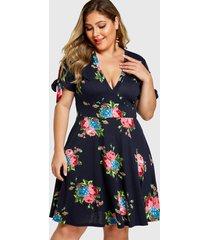 yoins plus talla azul marino estampado floral v-cuello anudado vestido