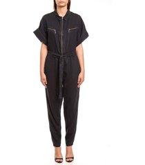 macacão jeans forum reto com faixa azul - kanui