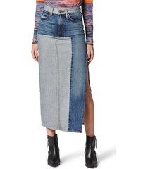 women's hudson jeans paneled denim skirt, size 27 - blue