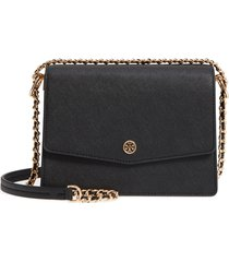 tory burch robinson convertible leather shoulder bag - black