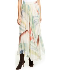 women's etro watercolor leaf print pleated maxi skirt