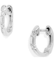 women's dana rebecca designs sadie pearl mini baguette diamond huggie hoop earrings