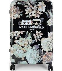 karl lagerfeld paris 28-inch floral spinner suitcase - black multifloral