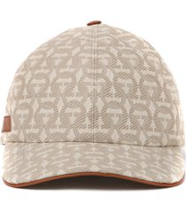 salvatore ferragamo cotton & leather hat with gancini all over print