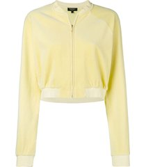 juicy couture swarovski personalisable velour crop jacket - yellow