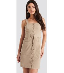 trendyol yol belted midi dress - beige