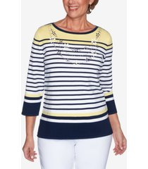 alfred dunner women's missy lazy daisy engineered stripe with necklace sweater