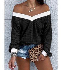 black color blocking one shoulder long sleeves knit top