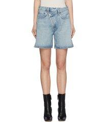 displaced waistband light wash denim shorts