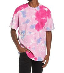 nike sportswear oversize tie dye t-shirt, size xx-large in white/psychic pink/sapphire at nordstrom