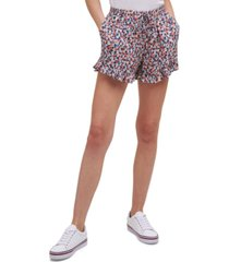 tommy jeans floral ruffle shorts
