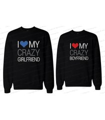 his and her matching couple sweatshirts - i love my crazy boyfriend & girlfriend