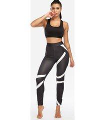active random printed pattern yoga leggings in black
