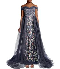 floral embroidered tulle gown