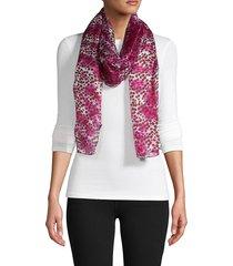 la fiorentina women's dotted silk scarf - blue