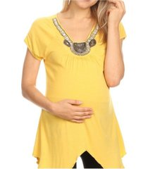 white mark maternity myla embellished tunic
