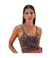 blusa de alcinha feminino regata animal print regata redonda