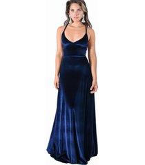 vestido largo paris azul marino ter maria paskaro