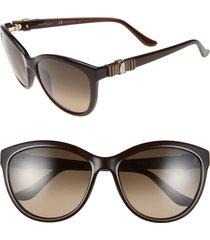 salvatore ferragamo 'vara' 57mm sunglasses in brown at nordstrom