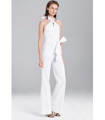 denim jumpsuit, women's, white, cotton, size 6, josie natori