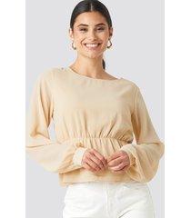 na-kd chiffon flounce blouse - beige,nude