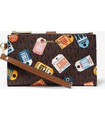 mk portafoglio per smartphone adele con logo stampato - brown multi - michael kors