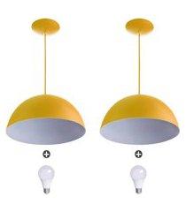2 lustres pendente meia lua 30cm alumínio amarelo + lampada