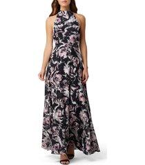 women's tahari floral halter neck gown, size 4 - black