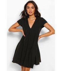 geweven loshangende jurk met v-hals, zwart