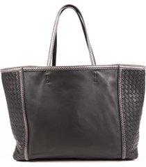 bottega veneta ayers-trimmed gray intrecciato leather tote bag gray sz: m