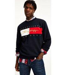 tommy hilfiger men's organic cotton signature sweatshirt navy - s
