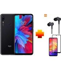 celular xiaomi redmi note 7 128gb negro + audífonos y protector