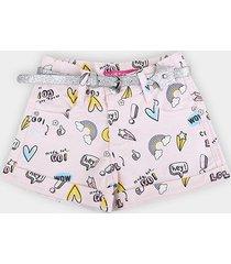 shorts bebê plural kids c/ cinto estrela glitter menina