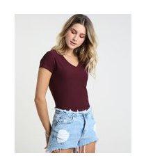 camiseta flamê de algodão básica manga curta decote v vinho