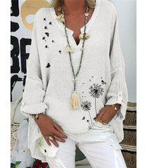 camicetta allentata a maniche lunghe con stampa di farfalle floreali per donna