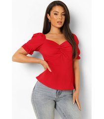 blouse met pofmouwen en hartvormige hals, red