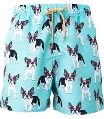 short estampado tactel bulldog praiar store azul