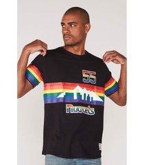 camiseta mitchell & ness especial estampada denver nuggets preta