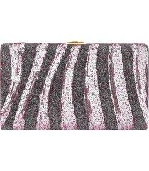 bolsa clutch liage bordada rosa